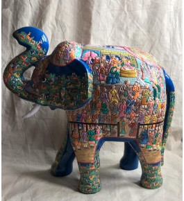 Authentic Kashmir Paper Mache Elephant For Showpiece
