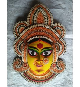 Delightful Handmade Yellow Couple Goddess Face Purulia Chau Mask For Decoration Purpose