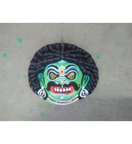 Delightful Handmade Green Demon Face Purulia Chhau Mask For Decoration Purpose