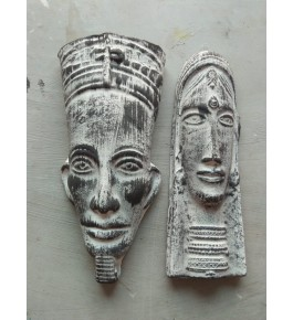 Delightful Handmade Grey Colour Purulia Chhau Mask Pair For Decoration Purpose
