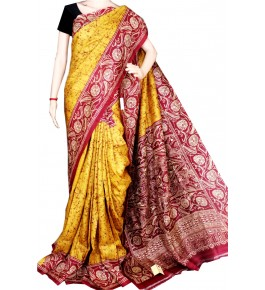 Berhampuri Patta Silk Beautiful Golden Yellow & Red Saree with Unstitched Blouse Piece for Women
