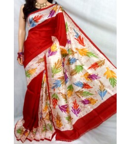 Berhampuri Patta Silk Beautiful Colorful Leaf Print Saree with Unstitched Blouse Piece for Women