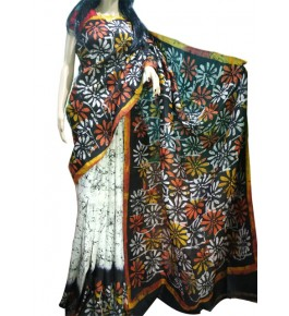 Berhampuri Patta Silk Beautiful Colorful Flower Print Saree with Unstitched Blouse Piece for Women