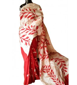 Beautiful Berhampuri Patta Silk Saree in Red & Floral White Color with Unstitched Blouse Piece for Women
