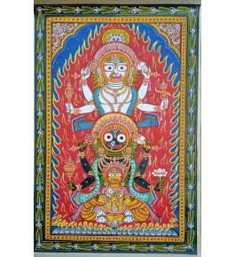 Alluring Handicraft Orrisa Pattachitra Painting Of Red, Yellow, And Black Mix Colour Of Gods For Wall Decoration
