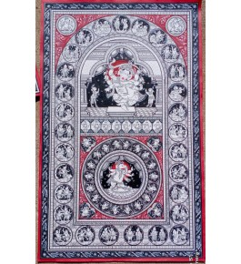 Alluring Handicraft Traditional Orrisa Pattachitra Painting Of Dancing Lord Ganesha For Wall Decoration