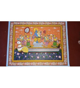 Alluring Handicraft Orrisa Pattachitra Colourful Painting Of Lord Rama And Sita Victory Story For Wall Decoration