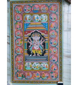 Alluring Handicraft Orrisa Pattachitra Painting Of Lord Ganesha For Wall Decoration
