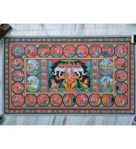 Alluring Handicraft Orrisa Pattachitra Colourful Painting Of Lord Ganesha For Wall Decoration