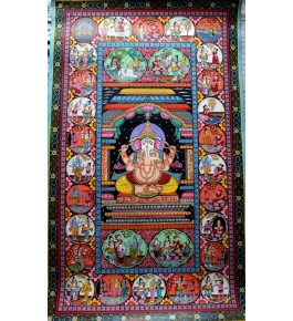 Alluring Handicraft Orrisa Pattachitra Colourful Painting Of Lord Ganesha Life Story For Wall Decoration