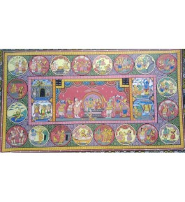 Alluring Handicraft Orrisa Pattachitra Colourful Painting Of Lord Rama And Sita Life Story For Wall Decoration