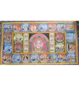 Alluring Handicraft Traditional Orrisa Pattachitra Painting Of Lord Ganesha For Wall Decoration