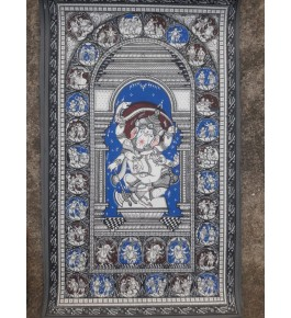 Alluring Handicraft Traditional Orrisa Pattachitra Black & Blue Painting Of Lord Ganesha For Wall Decoration