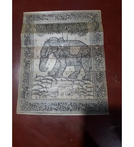 Alluring Handicraft Traditional Orrisa Pattachitra Black & White Painting Of Elephant For Wall Decoration