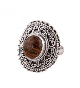 Shree Jaipur Silver Dino Bone Stone Ring