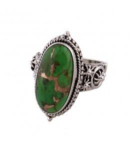 Shree Jaipur Silver Green Turquoise Stone Ring