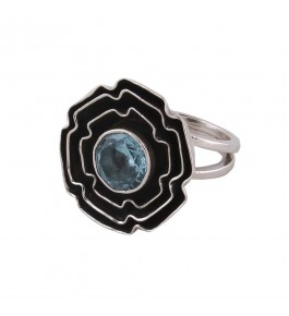 Shree Jaipur Silver Blue Topaz Stone Ring