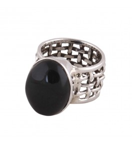 Shree Jaipur Silver Black Spinal Stone Ring