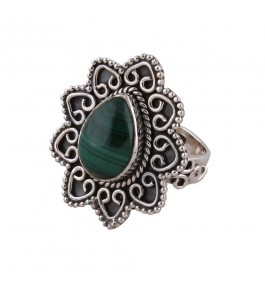 Shree Jaipur Silver Malachite Stone Ring