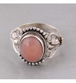 Shree Jaipur Silver Pink Opal Stone Ring