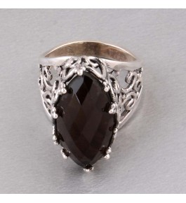 Shree Jaipur Silver Smoky Stone Ring