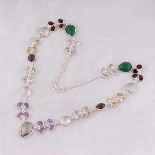Shree Jaipur Silver Green Stone Necklace