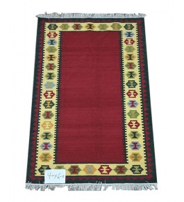 Red Colour With Yellow Colour Border Handmade Pure Wool & Cotton Mirzapur Dari For Home Decor/Living Room/Bedroom (4 x 6 Ft).