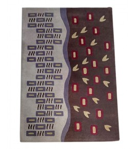 Classic  Multicolour Hand Tufted  Design Pure Wool & Cotton Mirzapur Dari For Home Decor/Living Room/Bedroom (5 x 8 Ft).