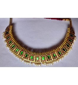 Designer Temple Jewellery of Nagercoil for Women Gold Pearl Necklace on Traditional Occassions