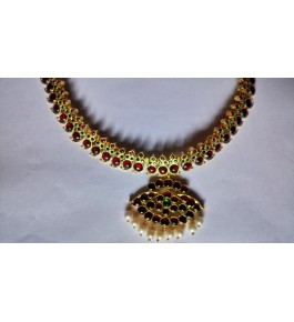 Designer Temple Jewellery of Nagercoil for Women Gold Pendent Pearl Necklace on Traditional Occassions