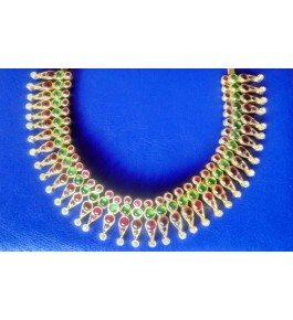 Designer Temple Jewellery of Nagercoil for Women Red Green Stone Necklace on Traditional Occassion