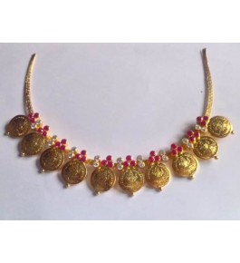 Antique Designes of Temple Jewellery of Nagercoil for Women Gold Plated Necklace for Traditional Occassion