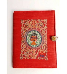 Sujini Embroidery Work of Bihar on Beautiful Diary with Lord Buddha Design Silk & Cotton Fabric