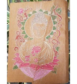 Sujini Embroidery Work of Bihar on Designer Small Size Diary of Lord Buddha with Silk & Cotton Fabric