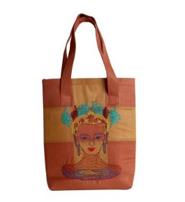 Beautiful Sujini Embroidery Work of Bihar on Brown Colour Tote Bag with Lord Buddha Design