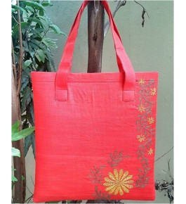 Beautiful Sujini Embroidery Work of Bihar on Red Colour Tote Bag