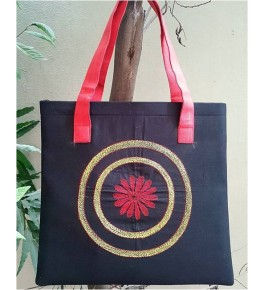 Beautiful Sujini Embroidery Work of Bihar on Black Colour Tote Bag