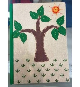 Sujini Embroidery Work of Bihar on Beautiful Small Size Diary with Silk & Cotton Fabric