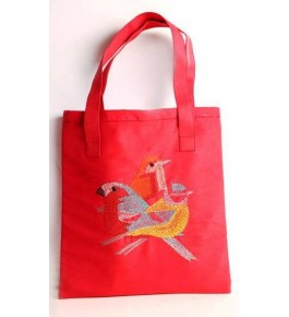 Beautiful Sujini Embroidery Work of Bihar on Red Colour Tote Bag with Bird Design