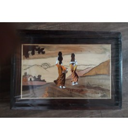 Delightful Traditional Handicraft Mysore Rosewood Inlay Wooden Painting Of Women Carrying Pot