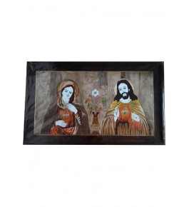 Beautiful Traditional Handicraft Mysore Rosewood Inlay Wooden Painting Of Lord Jesus Christ With His Mother For Wall Decoration