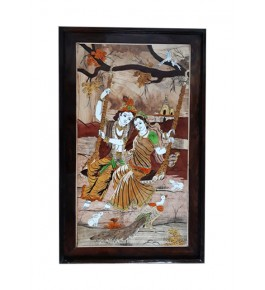 Beautiful Traditional Handicraft Mysore Rosewood Inlay Wooden Painting Of Lord Krishna And Radha For Wall Decoration