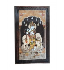 Beautiful Traditional Handicraft Mysore Rosewood Inlay Wooden Painting Of Lord Krishna Playing Flute Wall Decoration