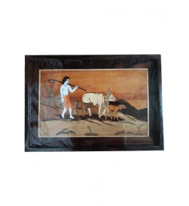 Delightful Traditional Handicraft Mysore Rosewood Inlay Wooden Painting Of Tribal Man Grazing Cows