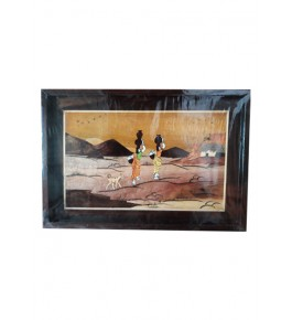 Delightful Traditional Handicraft Mysore Rosewood Inlay Wooden Painting Of Beautiful Tribal Women Carrying Pot