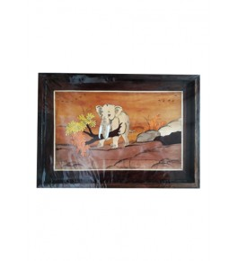 Delightful Traditional Handicraft Mysore Rosewood Inlay Wooden Painting Of Elephant Picking Tree