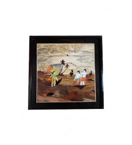 Delightful Traditional Handicraft Mysore Rosewood Inlay Wooden Painting Of Villagers For Wall Decoration