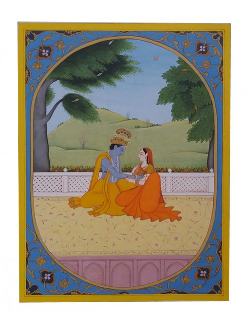 Beautiful Handmade Kangra Painting Canvas Of Lord Krishna & Radha Love Theme