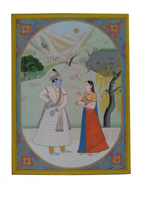 Beautiful Handmade Kangra Painting Canvas Of Lord Krishna & Radha Standing Moment