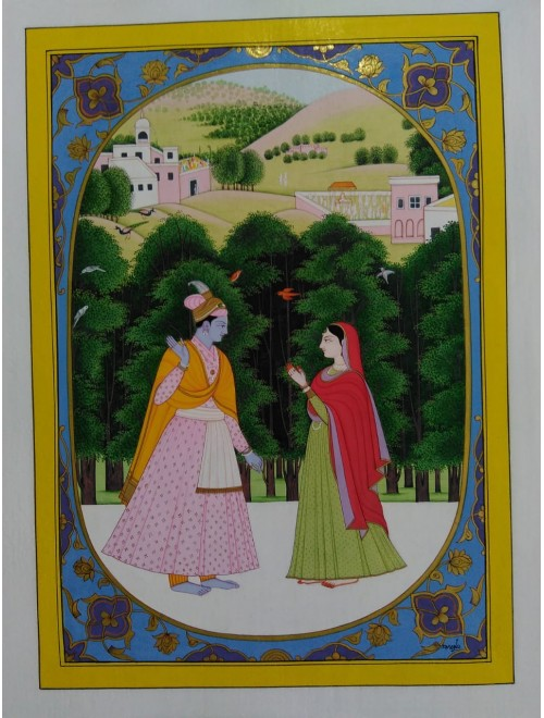 Elegant Handicraft Kangra Painting Canvas Of Lord Krishna & Radha For Home Decor